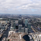 Bird's Eye view of london seen over Canary Wharf